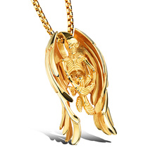 2017 big necklace men jewelry accessories punk vintage stainless steel angel wings skull pendant necklaces gold color cool gift