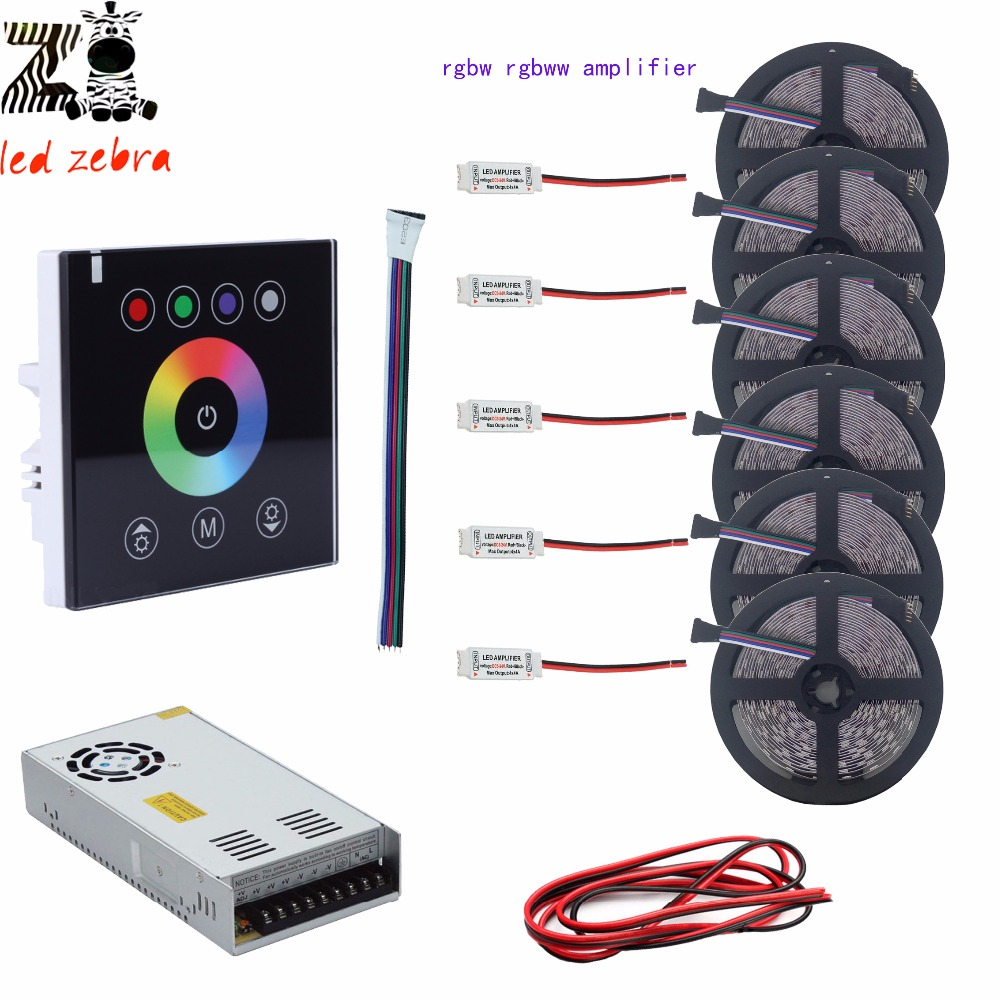 5m/10m/15m/20m/25m/30m 5050 SMD rgbw rgbww led strip+black led touch panel controller+12v led power transformer+rgbw amplifier<br>