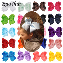 Fashion 6 Inch Cute Boutique Hair Pin Grosgrain Ribbon Bows Hairpins Little Girl Bows Hair Clips Kids Headwear Accessories New(China)