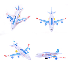 Plastic Airbus A380 Model Airplane Electric Flash Light Sound Toys Aircraft Model Plane Universal Airplane Toys for Kids 30cm(China)