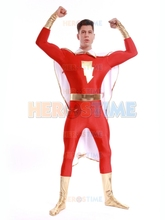 Justice League Captain Marvel Costume high-elastic Captain Marvel supehero costume for Mens with Cape halloween party costume