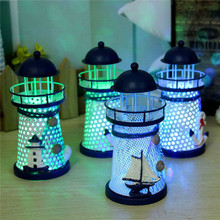 1Pc Flash Ocean Iron Lighthouse Night Light Candleholder Mediterranean Style Home Room Party Wedding Festival Decor