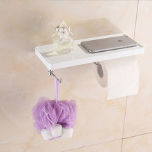 SUS 304 Brushed Stainless Steel Mobile Phone Shelf with Towel Hooks Hanger Wall Mount Tissue Holder for Bathroom(China)