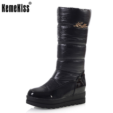Buy KemeKiss Women Boot High Warm Thick Fur Snow Boots Round Toe Winter Flat Shoes Woman Keep Warm Knee Botas Size 34-39 for $24.82 in AliExpress store