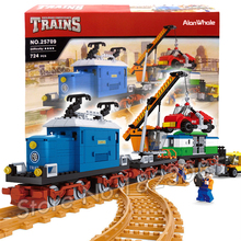 724pcs Train Series Creator Freight Cargo Trains Vintage 25709 locomotive Model Building Block Railway Toys Compatible With lego