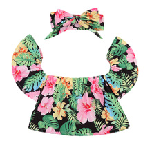 2017 Summer Floral Toddler Kids Girls Off shoulder T-shirt Tops+Headband 2PCS Children Clothes T Shirt Blusa 0-5Y(China)