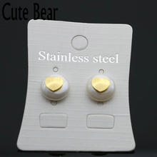 Cute Bear Brand Women Stud Earrings Fashion High Quality Stainless Steel Heart Imitation Pearl Earrings Women Jewelry