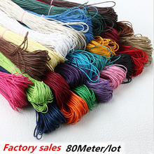 2016 Hot 80 Meter Waxed Cotton Beading 18 color Jewelry making Cord Rope 1mm For Bracelet Necklace Diy B00440