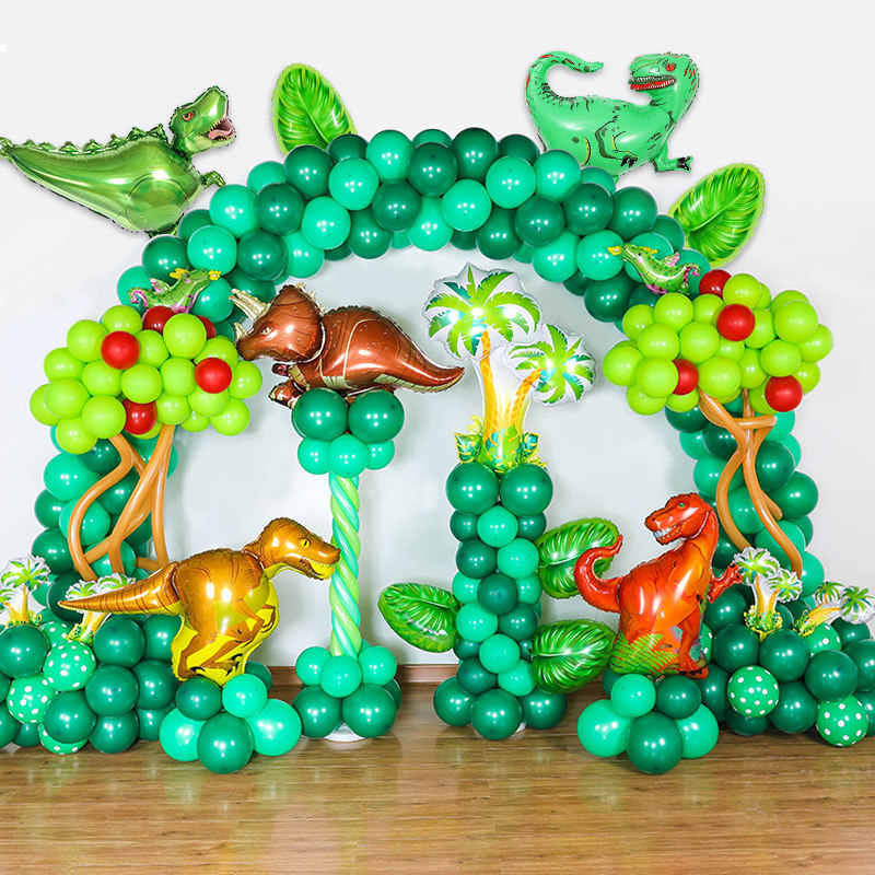 Big Dinosaur Party Theme Green Latex Balloon Walking Safari Balloons Banner Garland For Children Boy Baby