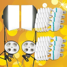 Free Shipping Big Discount 2 x (50cm x 70cm Softbox ) & 2x Light Stands & 8x 115W Lamp Tubes Light Bulb Photo Video Kit