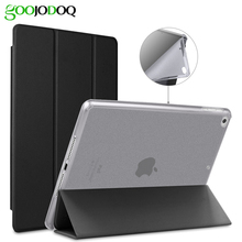 For iPad 9.7 2017 Case Soft, GOOJODOQ Ultra Slim PU Leather+ Glitter Bling Silicone Soft Back Smart Cover for iPad Air Case(China)