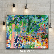 impression figures outdoor dine party scenery canvas printings oil painting printed on canvas hotel wall art decoration picture(China)