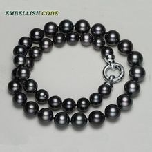 Perfect round like ball dark black color 12mm 13mm 100% real natural Cultured pearls necklace Classic stely choker for women
