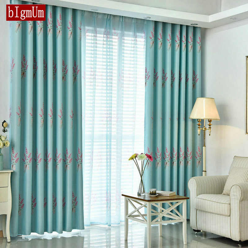 Romantic Lavender Rustic Style Curtains for Living Dining Room Bedroom Flower Pink Blue Green Curtains Pastoral Tulle Cortinas