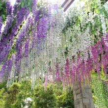 New  Wisteria Flower Rattan Decoration Artificial Silk Flower Fake Garden Hanging Flower Plant For Hotel Wedding Decoration