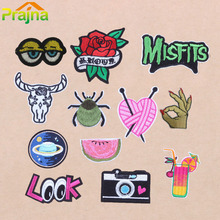 Prajna DIY Flower Rose Heart Camera Embroidered Patch Letter Pokemon Cartoon Iron On Patches For Clothing Bordad Sew On SpiderB1