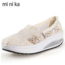 Buy MINIKA Lace Breathable Summer Shoes 2017 Platform Women Flats Hollow Outs Fashion Women Flat Shoes Casual Female Loafers SNE-770 for $17.99 in AliExpress store