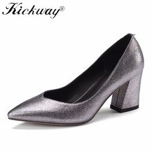 Kickway 2018 Women Shoes Thick High Heel Genuine Leather Metallic Sheepskin Wedding Party Shoes Spring Ladies Pumps Size 34-42(China)