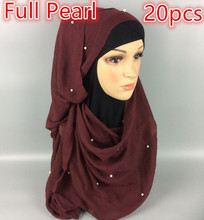 N11 20pcs 1lot, full pearl hijab ,all pearl cover full scarf scarf ,shawl,thicker than viscose ,180*90cm,can choose colors(China)