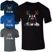 Fashion Darth Vader Rudolph Reindeer T-Shirt Men Funny Star Wars Christmas Kids Men Gift O Neck TShirt Top Brand Clothing Shirts(China)