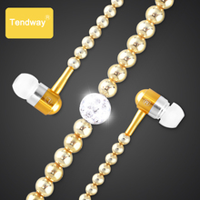 Pink girl Rhinestone Jewelry Pearl Necklace Earphones With Microphone Earbuds For Iphone Xiaomi Brithday Gift fone de ouvido(China)