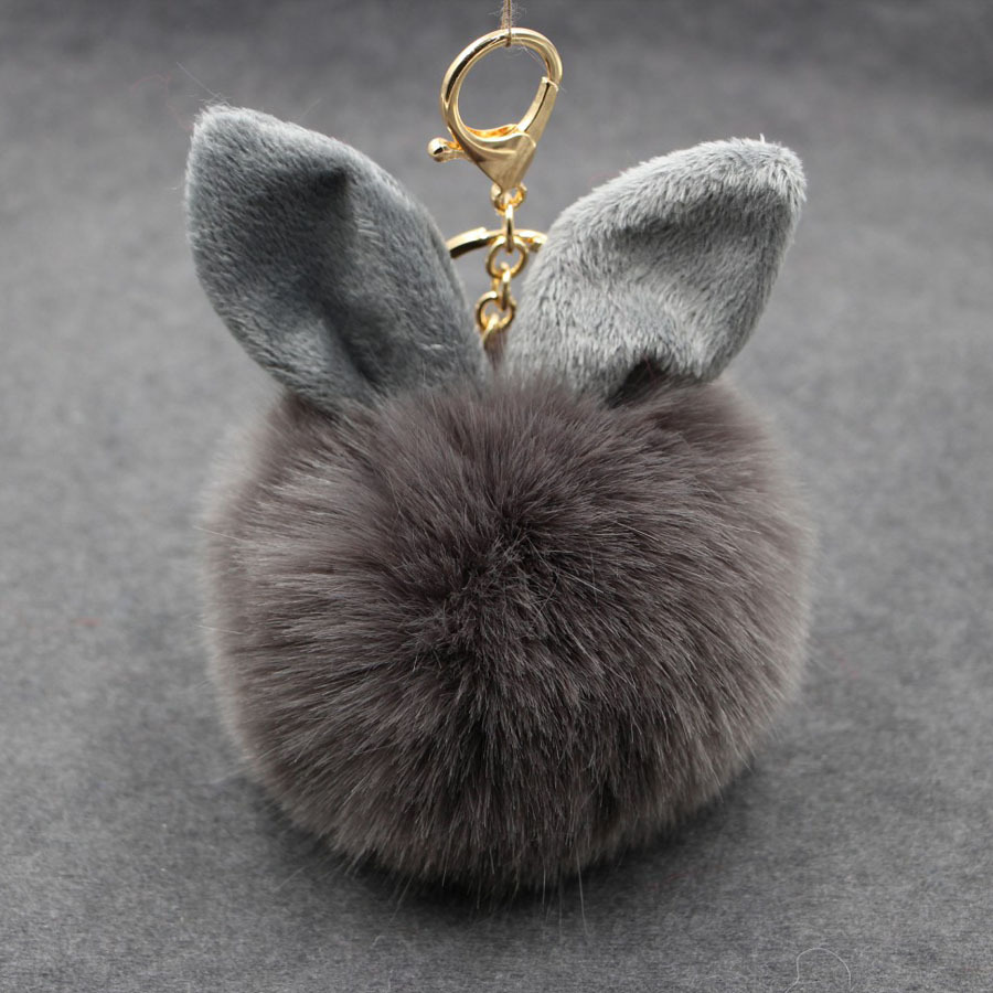 White Pink Gray Multiple Color Fluffy Rabbit Head Imitatiion Rabbit Fur Pendant Keychain Keyring For DIY Bag Key Jewelry Gift