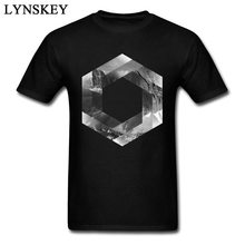 Awesome Design Illusionary Landscape Men Geometric 3D Print T-shirt Grayscale White Tee Shirts Cotton Tops(China)