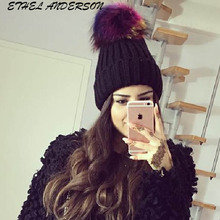 Multi Colored Raccoon fur pompom hat for women cashmere beanie hat Big Natural Raccoon fur pompom Beanies cap Fox fur bobble hat