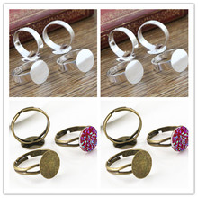 12mm 10pcs Silver/ Bronze Plated Brass Adjustable Ring Settings Blank/Base,Fit 12mm Glass Cabochons,Buttons;Ring Bezels
