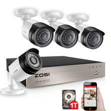 ZOSI 4CH 1080P HDMI P2P TVI DVR Surveillance System Video Output 4PCS 2000TVL 2.0MP IP Camera Home Security CCTV Kits 1TB HDD