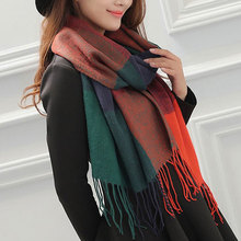Miya Mona New 190cm*60cm Autumn Fall Winter Cashmere Neck Scarf Warm Soft Pashmina for Women Scarves Plaid Tassels Shawl