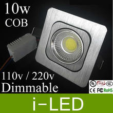 Rotatable Silver shell Square Fixture Led Downlights 10w Dimmable Cree Cob Chip Led Light Lamp Bulb Lighting 110v 220v 12v(China)