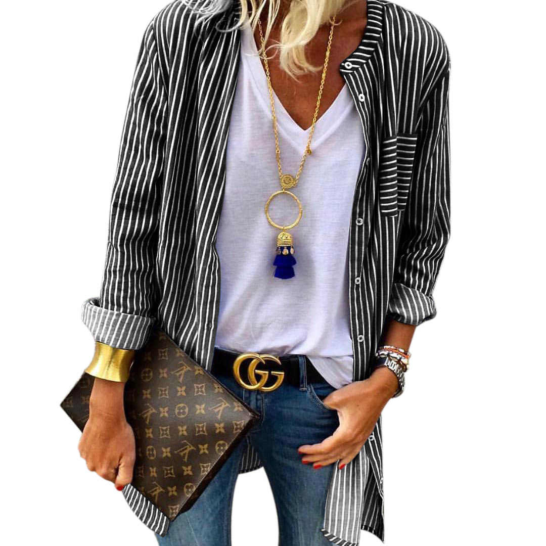 New Hot Women Fashion Loose Long Sleeve Buttons Pocket Striped Shirt Ladies Casual Baggy Blouse Cardigan Tops