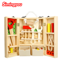 Simingyou New House Wooden Puzzle Children Toy Toolbox Service Simulation Toolbox Nut Toolbox Drop Shipping(China)