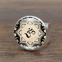 Wholesale Vintage Silver Ring Yoga Om Symbol Art Collage Glass Dome Women Rings Mandala Antique Ring Adjustable