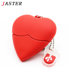 JASTER Love heart style usb flash drive  pendrives 4GB 8GB 16GB usb stick pendriver USB 2.0 u disk thumb drive necklace