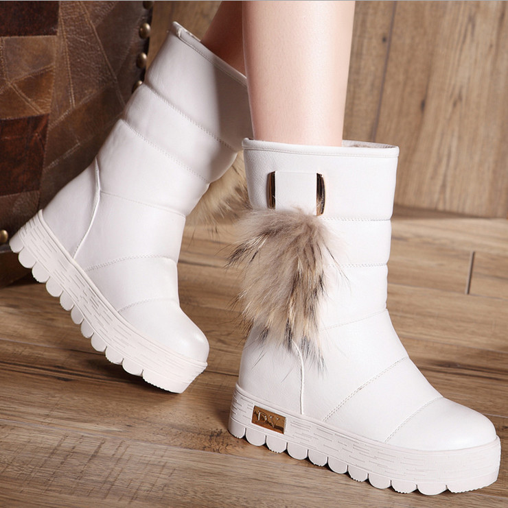 Increased winter boots women boots thick crust muffin waterproof shoes within the new snow boots female boots for real fox fur<br><br>Aliexpress