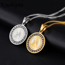 Fashion brand Round Necklace with AAA CZ Trendy Image of the Virgin Gold-color stainless Steel Jewelry Pendants best gift