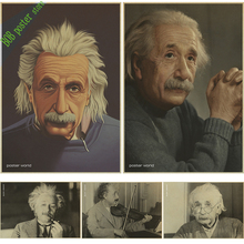 Wall Stickers Home Decor Albert Einstein Poster Vintage Retro Paper Imagination Is More Important Than Knowledge wallpaper(China)