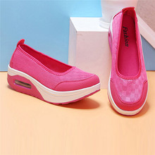 2016 spring women flat platform shoes women breathable mesh casual shoes fashion platform sandals heel ladies shoes