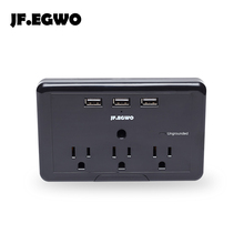 JF.EGWO Surge Protector Wall Mount usb wall socket with 3 USB Outlet Extension Socket American standard US plug electric outlets(China)