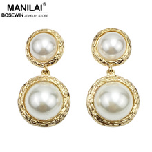 Buy MANILAI Big Simulated Pearl Stud Earrings Women Fashion Jewelry Vintage Metal Punk Earrings Golden & Silver Color Pendientes for $2.87 in AliExpress store
