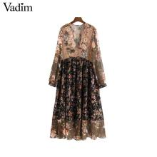 Vadim Pleated-Dress Mid-Calf Long-Sleeve Chic Floral Chiffon See-Through Retro Female