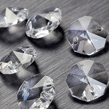 100Pcs/lot 14mm 2 holes Crystal Octagon Bead Prism Chandelier Crystal(China)