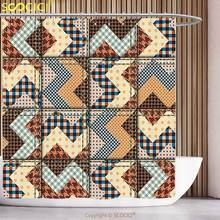 Cool Shower Curtain Farmhouse Decor Old Fashion Chevron Insignia Motif with Zigzag Curves in Earthy Colors Brown Cream Bathroom(China)