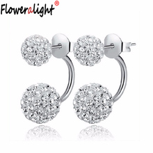 New Fashion Shambhala Double Sided Sythetic Crystal Ball Stud Earrings For Women Wedding Jewelry Gift Boucle D'oreille E1752(China)