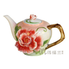 Peony Coffee Tea Pot Color Enamel Teapot Bone China Kettle Creative Porcelain Drinkware 3 Color(China)