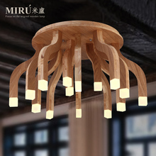 Modern Home Decoration Woden Ceiling Lamp Wood Living Room Light Bedroom Light Art Wood Studio Light Free Shipping