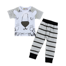 Retail 2016 spring infant clothes baby clothing sets boy Cotton little monsters and the lions short sleeve 2pcs baby boy clothes(China)