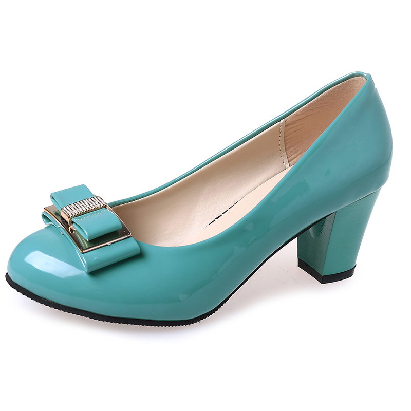 Blue Fashion Genuine Leather Women Pumps Sweet OL Work Shoes for Women Bowtie Square Heels Patent Leather D62 35<br><br>Aliexpress